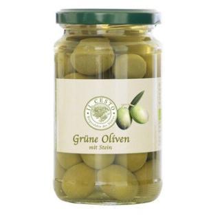 Grüne Oliven in Lake natur mit Stein